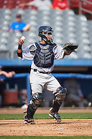 Trenton Thunder catcher Francisco Diaz (46) during the first game of a doubleheader against the Hartford Yard Goats on June 1, 2016 at Sen. Thomas J. Dodd Memorial Stadium in Norwich, Connecticut.  Trenton defeated Hartford 4-2.  (Mike Janes/Four Seam Images)
