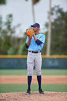 Tampa Bay Rays relief pitcher Luis Moncada (79) looks in for the sign during an Instructional League game against the Pittsburgh Pirates on October 3, 2017 at Pirate City in Bradenton, Florida.  (Mike Janes/Four Seam Images)