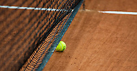 2016, 12 April, Arena Loire, Trélazè,  Semifinal FedCup, France-Netherlands, ball in net<br /> Photo:Tennisimages/Henk Koster