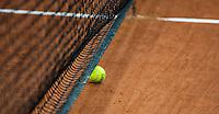 2016, 12 April, Arena Loire, Trélazè,  Semifinal FedCup, France-Netherlands, ball in net<br /> Photo:Tennisimages/Henk Koster