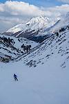 Beth on fresh groomed, St Anton Ski Area, Austria,