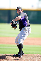 Colorado Rockies minor league pitcher Geoff Parker #36 during an instructional league intrasquad game at the Salt River Flats Complex on October 5, 2012 in Scottsdale, Arizona.  (Mike Janes/Four Seam Images)