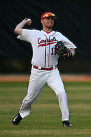 Ball State Cardinals outfielder Brandon Estep (15) during a game against the Maine Black Bears on March 3, 2015 at North Charlotte Regional Park in Port Charlotte, Florida.  Ball State defeated Maine 8-7.  (Mike Janes/Four Seam Images)