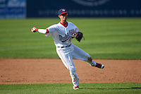 Auburn Doubledays shortstop Clayton Brandt (3) throws to first during a game against the Williamsport Crosscutters on June 26, 2016 at Falcon Park in Auburn, New York.  Auburn defeated Williamsport 3-1.  (Mike Janes/Four Seam Images)