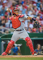 28 May 2016: St. Louis Cardinals catcher Yadier Molina in action against the Washington Nationals at Nationals Park in Washington, DC. The Cardinals defeated the Nationals 9-4 to take a 2-games to 1 lead in their 4-game series. Mandatory Credit: Ed Wolfstein Photo *** RAW (NEF) Image File Available ***