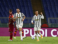 Football, Serie A: AS Roma - Juventus, Olympic stadium, Rome, September 27, 2020. <br /> Juventus' Cristiano Ronaldo (r) celebrates after scoring his first goal in the match during the Italian Serie A football match between Roma and Juventus at Olympic stadium in Rome, on September 27, 2020. <br /> UPDATE IMAGES PRESS/Isabella Bonotto
