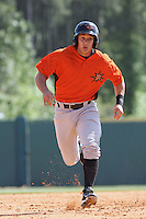 Greg Miclat #1 of the Frederick Keys running to 3rd base during a game against the Myrtle Beach Pelicans on May 2, 2010 in Myrtle Beach, SC.