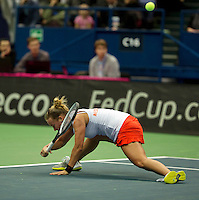 Moskou, Russia, Februari 4, 2016,  Fed Cup Russia-Netherlands, Richel Hogenkamp (NED) goes all the way<br /> Photo: Tennisimages/Henk Koster