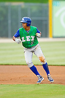 Raul Mondesi (2) of the Lexington Legends takes his lead off of second base against the Kannapolis Intimidators at CMC-Northeast Stadium on July 30, 2013 in Kannapolis, North Carolina.  The Legends defeated the Intimidators 1-0.  (Brian Westerholt/Four Seam Images)