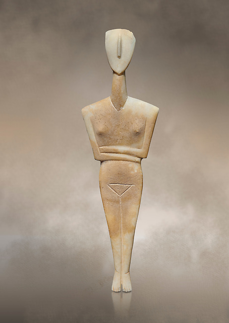 Ancient Greek Cycladic female figurine of the canonical type, Dokathismata variety, Early Cycladic period II, Syros phase, 2800-2300 BC, Museum of Cycladic Art, Athens.<br /> <br /> Attributed to the 'Ashmolean Museum Master'