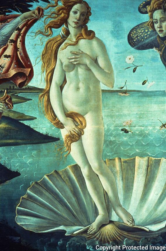 Renaissance Art:  Botticelli--The Birth of Venus, detail.  Galleria Uffii.