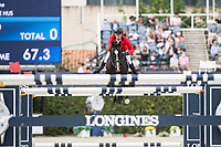 3rd October 2021;  Real Club de Polo, Barcelona, Spain; CSIO5 Longines FEI Jumping Nations Cup Final 2021; Andre Thieme from Germany during the FEI Jumping Nations Cup Final 2021