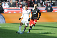 WASHINTON, DC - FEBRUARY 29: Washington, D.C. - February 29, 2020: Nicolas Mezquida #20 of the Colorado Rapids battles the ball with Julian Gressel  #31 of D.C. United. The Colorado Rapids defeated D.C. United 2-1 during their Major League Soccer (MLS)  match at Audi Field during a game between Colorado Rapids and D.C. United at Audi FIeld on February 29, 2020 in Washinton, DC.