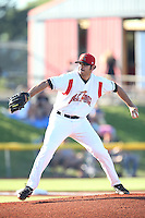 Nicholas Gonzalez #26 of the Salem-Keizer Volcanoes pitches against the Spokane Indians at Volcanoes Stadium on July 26, 2014 in Keizer, Oregon. Spokane defeated Salem Keizer, 4-1. (Larry Goren/Four Seam Images)