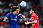 Bayern Munich Midfielder James Rodríguez (R) fights for the ball with Chelsea Defender David Luiz (L) during the International Champions Cup match between Chelsea FC and FC Bayern Munich at National Stadium on July 25, 2017 in Singapore. Photo by Marcio Rodrigo Machado / Power Sport Images