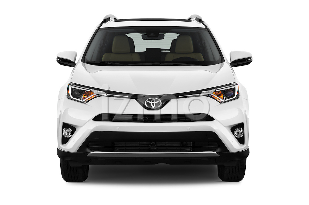 Car photography straight front view of a 2018 Toyota RAV4 Limited 5 Door SUV Front View