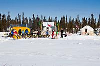 Mitch Seavey arrives at the Cripple checkpoint, halfway point, Interior Alaska