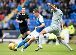St Johnstone v Hartlepool…22.07.17… McDiarmid Park… Pre-Season Friendly<br />Steven MacLean turns Blair Adams<br />Picture by Graeme Hart.<br />Copyright Perthshire Picture Agency<br />Tel: 01738 623350  Mobile: 07990 594431