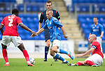 St Johnstone v York City...19.07.14  <br /> Saints trialist Danny Gilbraith gets between Marvin McCoy and Russell Penn<br /> Picture by Graeme Hart.<br /> Copyright Perthshire Picture Agency<br /> Tel: 01738 623350  Mobile: 07990 594431