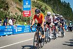 The breakaway with Mikel Bizkarra (ESP) Euskaltel-Euskadi, Harm Vanhoucke (BEL) Lotto-Soudal, Dimitri Claeys (BEL) Qhubeka NextHash, Stan Dewulf (BEL) AG2R-Citroën Team, Jetse Bol (NED) Burgos-BH and Quinn Simmons (USA) Trek-Segafredo during Stage 16 of La Vuelta d'Espana 2021, running 180km from Laredo to Santa Cruz de Bezana, Spain. 31st August 2021.     <br /> Picture: Cxcling   Cyclefile<br /> <br /> All photos usage must carry mandatory copyright credit (© Cyclefile   Cxcling)