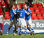 St Johnstone v Aberdeen.....30.01.13      SPL.Dave Mackay celebrates his goal with Paddy Cregg, Rowna Vine and Frazer Wright.Picture by Graeme Hart..Copyright Perthshire Picture Agency.Tel: 01738 623350  Mobile: 07990 594431
