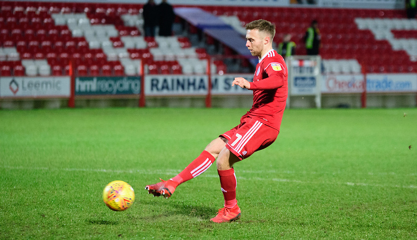 Accrington Stanley's Jordan Clark scores the decisive penalty during the penalty shoot out<br /> <br /> Photographer Andrew Vaughan/CameraSport<br /> <br /> The EFL Checkatrade Trophy Second Round - Accrington Stanley v Lincoln City - Crown Ground - Accrington<br />  <br /> World Copyright © 2018 CameraSport. All rights reserved. 43 Linden Ave. Countesthorpe. Leicester. England. LE8 5PG - Tel: +44 (0) 116 277 4147 - admin@camerasport.com - www.camerasport.com