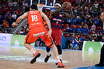 Valencia Basket's Pierre Oriola and FCB Lassa's Tyrese Rice during Semi Finals match of 2017 King's Cup at Fernando Buesa Arena in Vitoria, Spain. February 18, 2017. (ALTERPHOTOS/BorjaB.Hojas)