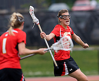 Laura Merrifield (9) of Maryland celebrates her goal during the ACC women's lacrosse tournament finals in College Park, MD.  Maryland defeated North Carolina, 10-5.