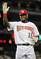 21 June 2010: Washington Nationals' infielder Cristian Guzman returns to the dugout after hitting a solo home run against the Kansas City Royals at Nationals Park in Washington, DC. The Nationals edged out the Royals 2-1 in the first game of their 3-game interleague series, snapping a 6-game losing streak. Mandatory Credit: Ed Wolfstein Photo
