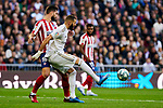 Karim Benzema of Real Madrid and Felipe Augusto de Almeida of Atletico de Madrid during La Liga match between Real Madrid and Atletico de Madrid at Santiago Bernabeu Stadium in Madrid, Spain. February 01, 2020. (ALTERPHOTOS/A. Perez Meca)