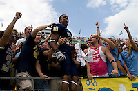 September 20, 2008: Pitt wide receiver Aundre Wright (10) celebrates the win with the Pitt students. The Pitt Panthers defeated the Iowa Hawkeyes 21-20 on September 20, 2008 at Heinz Field, Pittsburgh, Pennsylvania.