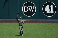 Vanderbilt Commodores center fielder Enrique Bradfield Jr. (51) catches a fly ball during the game against the South Carolina Gamecocks at Hawkins Field on March 21, 2021 in Nashville, Tennessee. (Brian Westerholt/Four Seam Images)