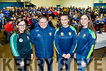 All Ireland Champions 2019, Kerry senior ladies hurling players pictured at the St Brendans Ardfert medal presentation night last Saturday were L-R Tréise Moran, Davy Fitzgerald, Aoife Fitzgerald and Aine O'Connor.