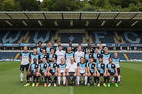 The Wycombe Wanderers Team Photo 2015/16 with a club sponsor seating front centre during Wycombe Wanderers Team Photoshoot 2015  at Adams Park, High Wycombe, England on 3 August 2015. Photo by PRiME Media Images.