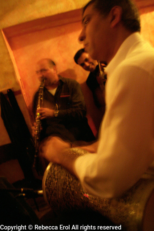 Selim Sesler and his band of gypsy musicians play at Badehane at Tunel, Istanbul, Turkey