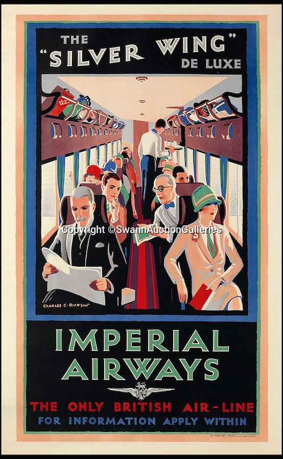 BNPS.co.uk (01202 558833)<br /> Pic: SwannAuctionGalleries/BNPS<br /> <br /> High class, and high cost, air travel from the 1930's.<br /> <br /> Travel posters opening a window into British seaside holidays of the past have emerged at auction. <br /> <br /> The selection of images, which were displayed at railway stations in the early 20th century, are among 200 being sold in the USA next month and expected to fetch hundreds of thousands of pounds. <br /> <br /> They feature paintings from prominent artists of the time and show a sharp contrast to the styles of today. <br /> <br /> The posters are being auctioned by Swann Galleries in New York on October 27.