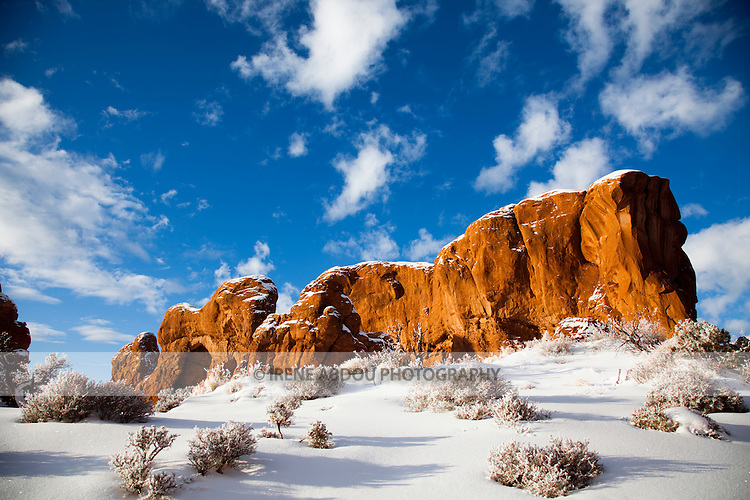 Fantastic rock formations sculpted over thousands of years by wind, rain, and other forces of erosion dot the winter landscape of the Windows Section of Arches National Park in southern Utah.