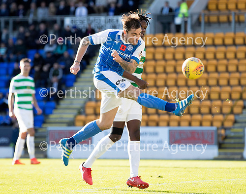 St Johnstone v Celtic…04.11.17…  McDiarmid Park…  SPFL<br />Paul Paton and Dedryck Boyata<br />Picture by Graeme Hart. <br />Copyright Perthshire Picture Agency<br />Tel: 01738 623350  Mobile: 07990 594431