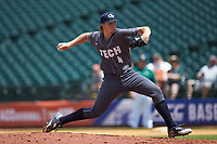 Georgia Tech Yellow Jackets relief pitcher Zac Ryan (4) in action against the Miami Hurricanes during game one of the 2017 ACC Baseball Championship at Louisville Slugger Field on May 23, 2017 in Louisville, Kentucky. The Hurricanes walked-off the Yellow Jackets 6-5 in 13 innings. (Brian Westerholt/Four Seam Images)