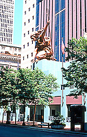 Michael Graves: Portland Building. Portlandia in sunlight. Sculpture by Raymond Kaskey. Photo '86.