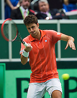31-01-14,Czech Republic, Ostrava, Cez Arena, Daviscup Czech Republic vs Netherlands, Robin Haase (NED)<br /> Photo: Henk Koster