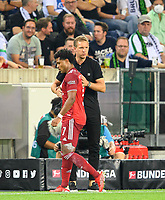 coach Julian NAGELSMANN (M) hugs Serge GNABRY (M) after his replacement, Soccer 1. Bundesliga, 1st matchday, Borussia Monchengladbach (MG) - FC Bayern Munich (M) 1: 1, on August 13th, 2021 in Borussia Monchengladbach / Germany . #DFL regulations prohibit any use of photographs as image sequences and / or quasi-video # Â