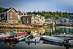 Fishing village at sunrise in Stonington Harbor, Stonington, ME