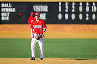 Radford Highlanders shortstop Chris Coia (2) on defense against the Missouri Tigers at Wake Forest Baseball Park on February 21, 2014 in Winston-Salem, North Carolina.  The Tigers defeated the Highlanders 15-3.  (Brian Westerholt/Four Seam Images)
