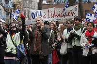 Montreal (QC) CANADA - April  4, 2012 - Jean Barbe applaud  Quebec students on strike againt tuition fees increase,k on Saint-Denis street