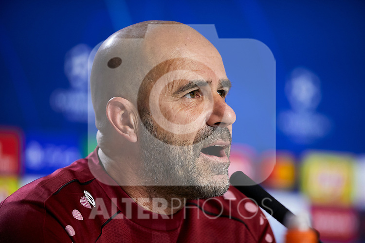 Peter Bosz during the Press Conference before the UEFA Champions League match between Atletico de Madrid and Bayer 04 Leverkusen at Wanda Metropolitano Stadium in Madrid, Spain. October 21, 2019. (ALTERPHOTOS/A. Perez Meca)