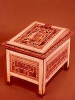 Egypt:  Ornate Chest--wood, ebony, ivory.  Treasures of Tutankhamun, Cairo Museum.  MMA 1976.