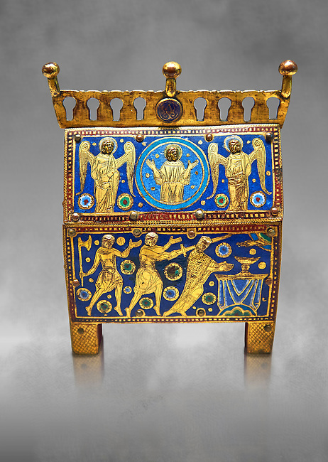 Medieval enamelled box with scenes from the martyrdom of Saint Thomas Becket, end of the 12th beginning of the 13th century from Limoges, enamel on gold. AD. Inv OA 7745, The Louvre Museum, Paris.