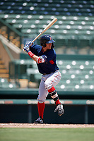GCL Red Sox Daniel Bakst (48) bats during a Gulf Coast League game against the GCL Orioles on July 29, 2019 at Ed Smith Stadium in Sarasota, Florida.  GCL Red Sox defeated the GCL Pirates 9-1.  (Mike Janes/Four Seam Images)