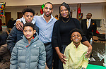 "WATERBURY,  CT-011820JS30- Dwayne Clements, Jr., and his mother Kimberly Clements, with his children, from Terrance Stevens, Jr., 15, Ethan Clements, 10, and nephew Noah Kinskey, 7, at the ""Men with a Purpose"" luncheon, a Dr. Martin Luther King, Jr. event celebrating men, at Grace Baptist Church in Waterbury. The event was sponsored by the Waterbury NAACP Youth Council.<br /> Jim Shannon Republican-American"
